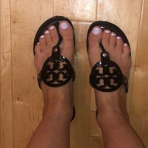 Patent black tory burch Miller Sandals 7.5